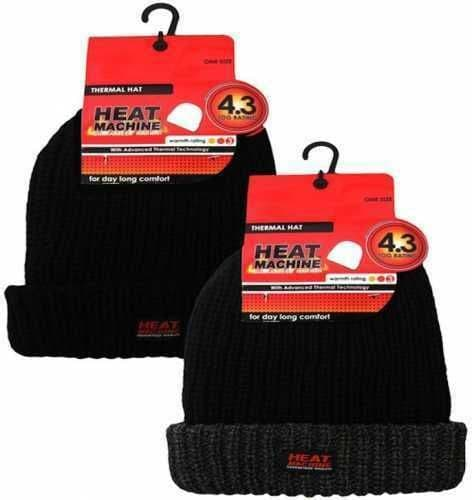 Black 4.3 Tog Fleece Insulated Thermal Beanie Hat Double Thickness Heat Machine - 164497509311